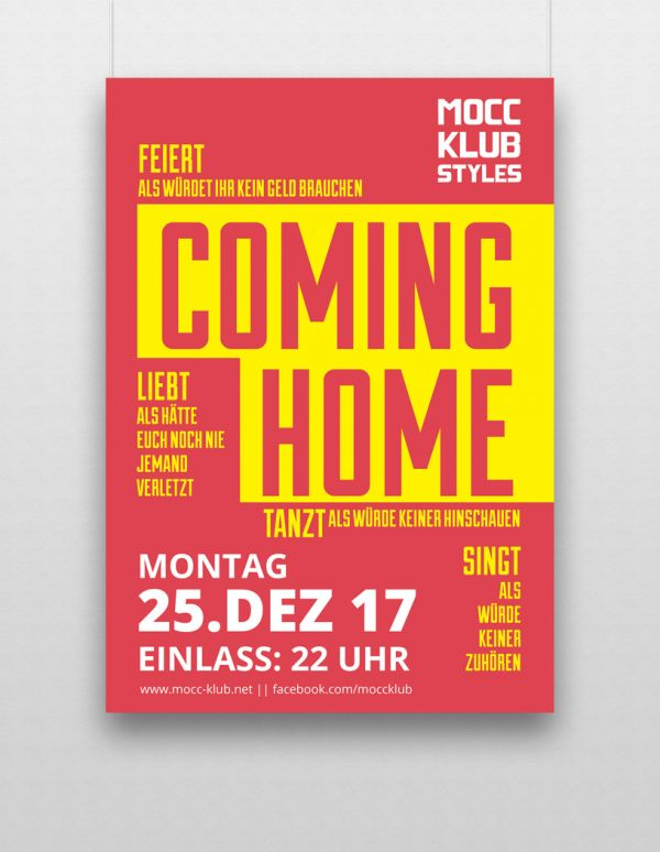 Posterentwurf Moccabar Coming Home Veranstaltung